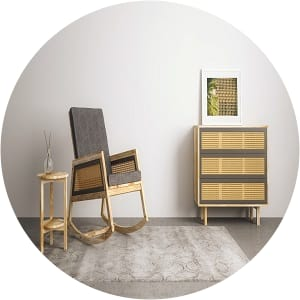 Bruna rocking chair side table chest of drawers lifestyle