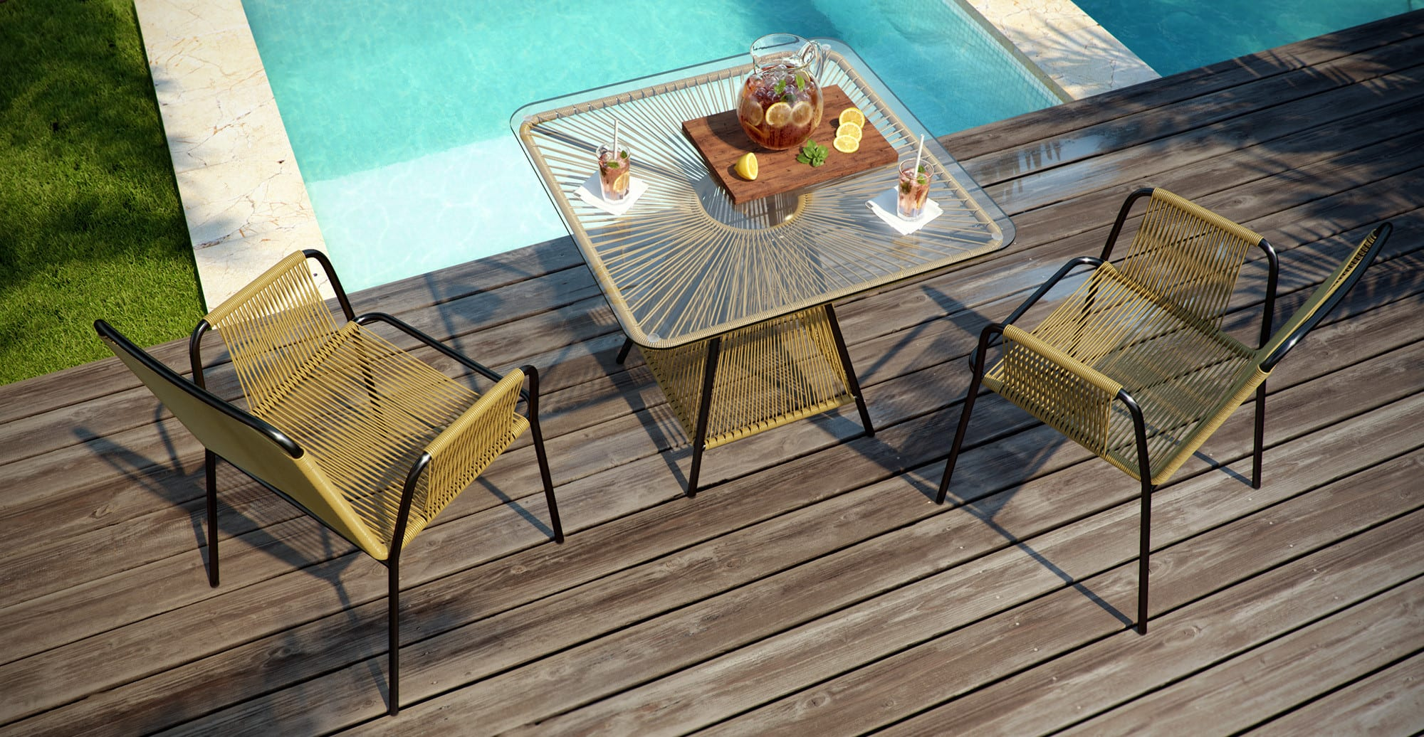 Small Outdoor Setting Part - 38: Small Lanzarote 3 Piece Outdoor Setting 2x Dining Chair With Dining Table ,  Natural Change