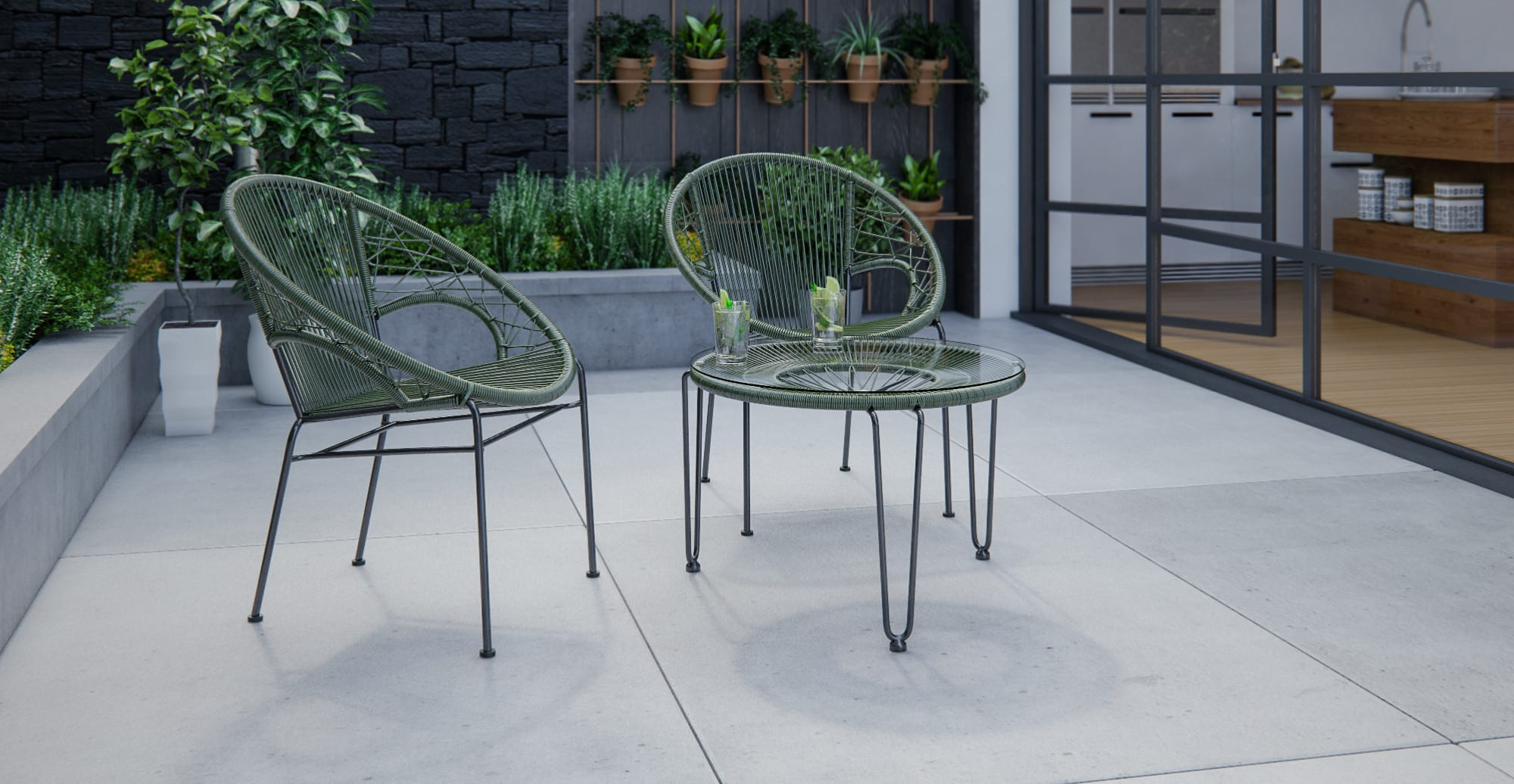Small Outdoor Setting Part - 18: Small Majorca U0026 Muro 3 Piece Outdoor Setting - 2x Accent Chairs With Coffee  Table , Dark Green Change
