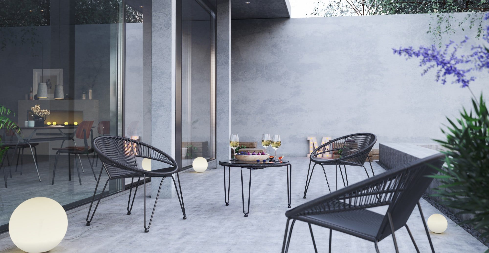Small Outdoor Setting Part - 15: Small Muro 5 Piece Outdoor Setting 4x Accent Chairs With Coffee Table ,  Black Change