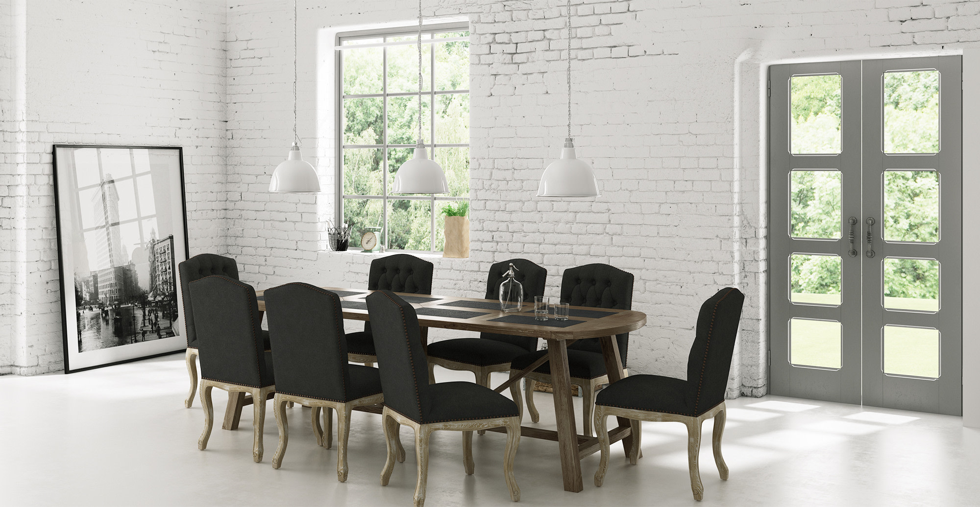Dining Set Warner Dining Table w 8x Marie Dining Chairs line in
