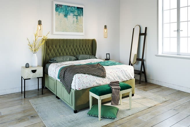 A bed in a designer space