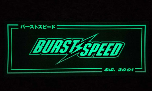Burstspeed Box Logo Glow in the Dark Sticker