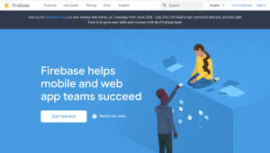 Screen capture of firebase.google.com home page as of 2020-07-01