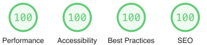"""Screen capture from a Lighthouse CLI report showing perfect """"100"""" scores for """"Performance,"""" """"Accessibility,"""" """"Best Practices,"""" and """"SEO"""""""