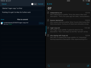 iPad screen capture: Working Copy on the left, iA Writer on the right