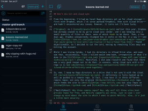 iPad screen capture: Working Copy display showing its built-in text editor