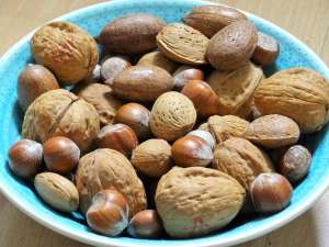 A bowl containing mixed nuts