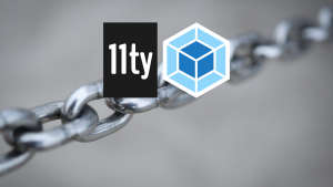 Eleventy and webpack logos over a chain