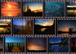 Strips of photographic film positives with colorful landscape images