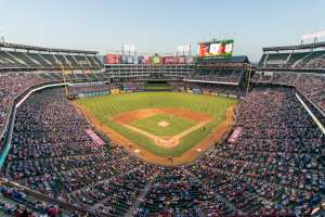 Baseball game at Globe Life Park, Arlington, Texas