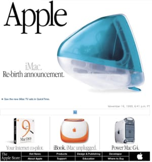 Image from Apple website in 1999 showing graphic elements as text