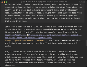 Screen capture of Mark Text in Source Code Mode