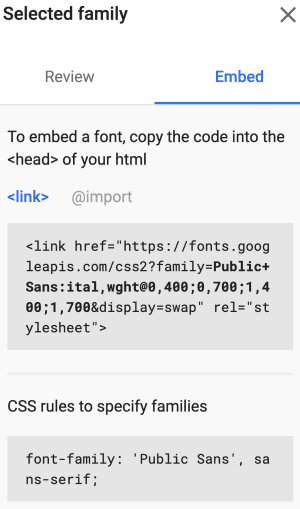 Screen capture from Google Fonts showing code for embedding