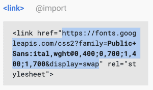 Screen capture from Google Fonts showing the URL to select
