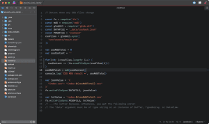 Screen capture of JavaScript file in the Nova code editor