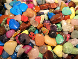 Close-up view of colorful gemstones