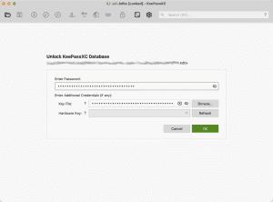 Screen capture from KeePassXC