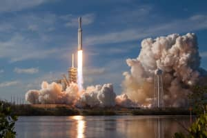 SpaceX rocket launching from the Kennedy Space Center in Florida