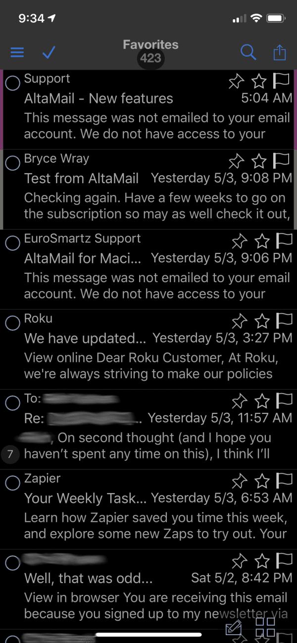 "AltaMail ""Favorites"" inbox view"