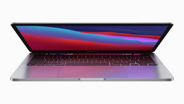 Partially opened MacBook Pro laptop