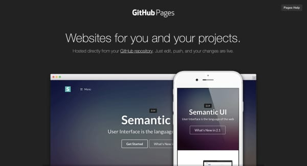 Screen capture of GitHub Pages section of GitHub website