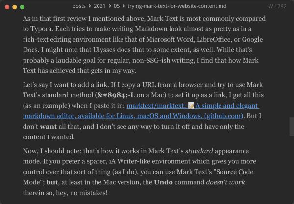 Screen capture of Mark Text in regular editing mode