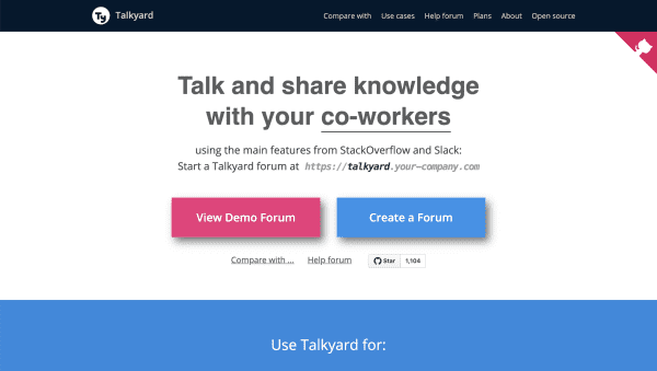 Screen capture of Talkyard web page