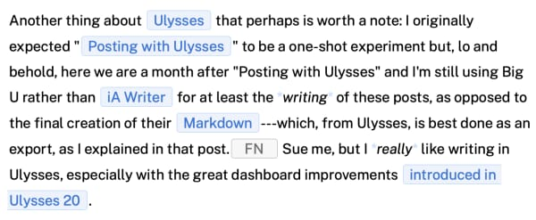Screen capture of Ulysses for a given paragraph