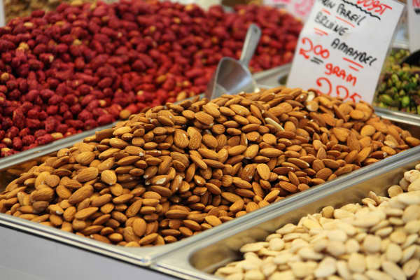 Almonds and other nuts in a store