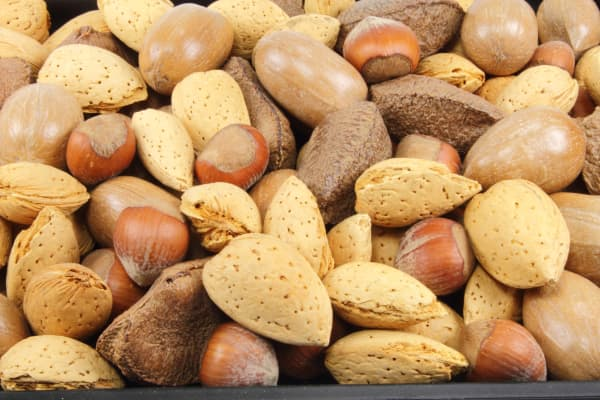 Mixed nuts, including almonds and hazelnuts