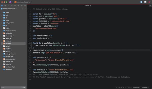 Screen capture of JavaScript file in the Nova code editor