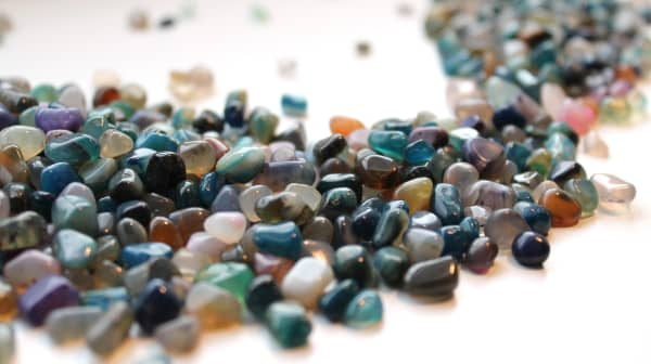 An assortment of colorful gemstones