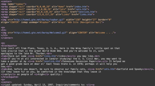 HTML code from a 1997 website