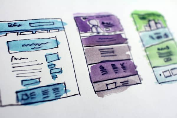 Watercolor art from website design process