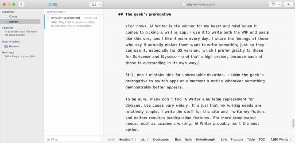 Screen capture from iA Writer app