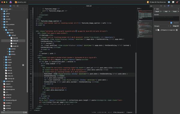 Screen shot of index.njk template in Nova code editor