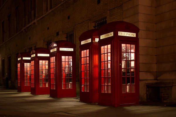 Communications concept - Red pay telephone booths
