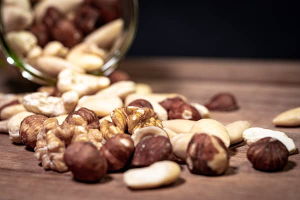 Concept image: mixed nuts on a tabletop
