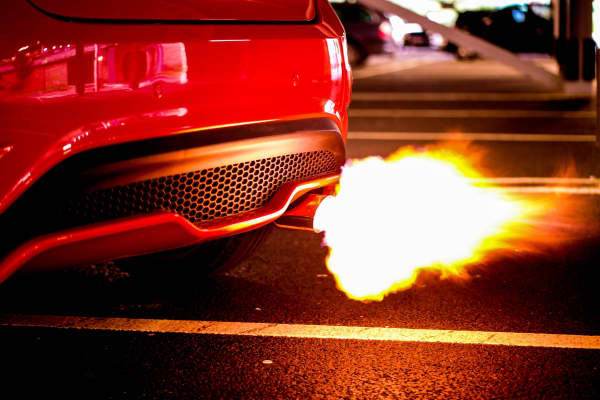 Exhaust flame resulting from a sport car's turbo boost