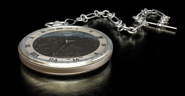 An elegant, old pocket watch with chain