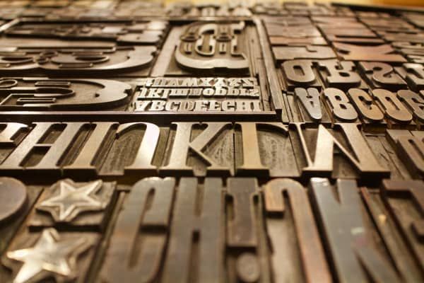 Various sizes of type for a printing press