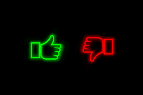 """Comparison concept: Icons of """"thumbs up"""" and """"thumbs down"""" hand signals"""