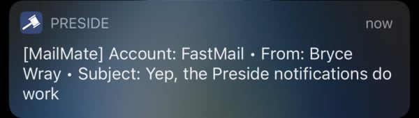 Screen shot of Preside email app notification on an iOS device