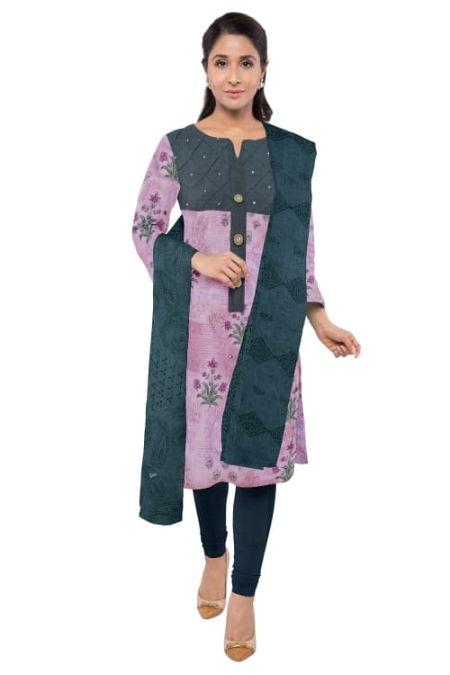SEMI STITCHED COTTON DRESS MATERIAL, FANCY PRINTED