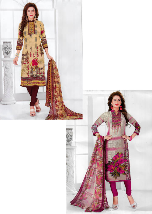 UNSTITCHED SYNTHETIC DRESS MATERIAL (SET OF 2)