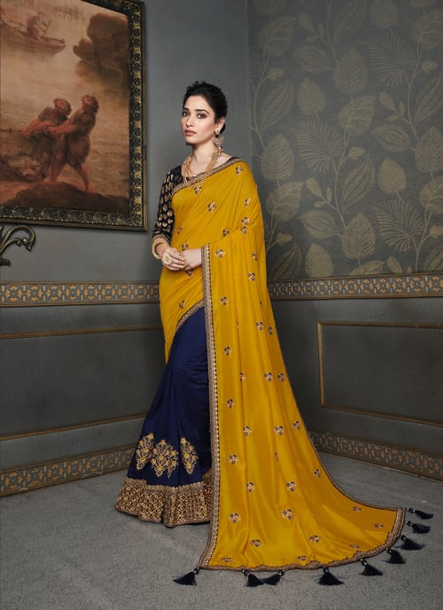 FANCY PARTY WEAR HALF AND HALF SAREE
