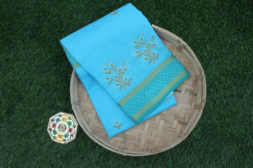 FANCY COTTON SAREE WITH EMBROIDERY WORK