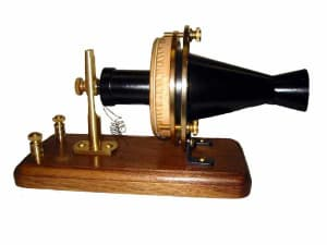 Certainly would be difficult to hold in your hand but here's the first telephone.