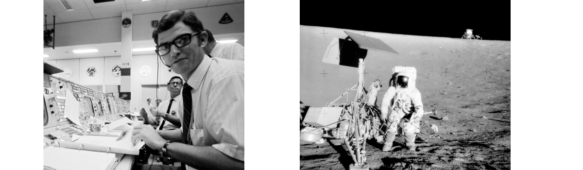 Left: John Aarons at Mission Control. Right: Alan Bean of Apollo 12 at Surveyor III with LM Intrepid in the background